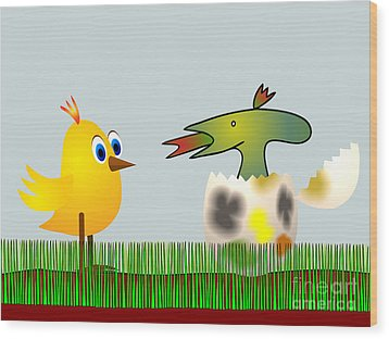 Easter Egg - Disagreeable Surprise Wood Print by Michal Boubin