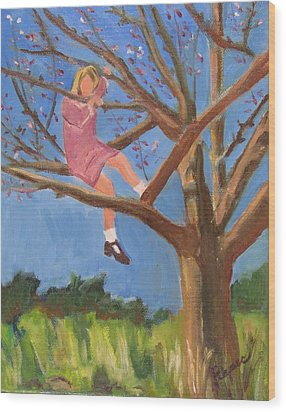 Wood Print featuring the painting Easter In The Apple Tree by Betty Pieper