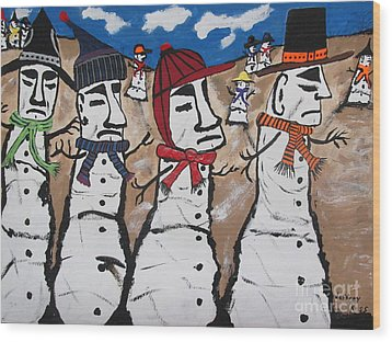 Easter Island Snow Men Wood Print by Jeffrey Koss
