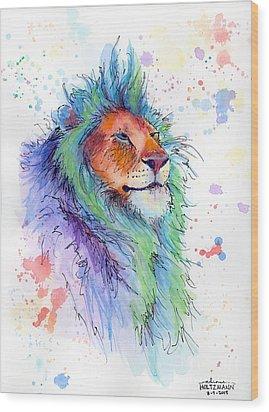 Easter Lion Wood Print by Arleana Holtzmann
