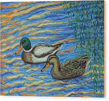Wood Print featuring the painting Eastlake Ducks by Dwain Ray