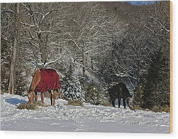 Eating Hay In The Snow Wood Print