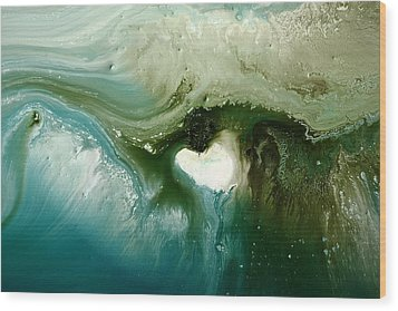 Echo Green Abstract Art By Kredart Wood Print by Serg Wiaderny