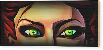 Wood Print featuring the painting Echo's Eyes by Persephone Artworks