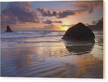 Ecola Sunset Wood Print by Mike  Dawson