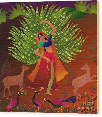 Wood Print featuring the digital art Ecstasy-ragamala by Latha Gokuldas Panicker