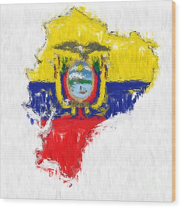 Ecuador Painted Flag Map Wood Print by Antony McAulay