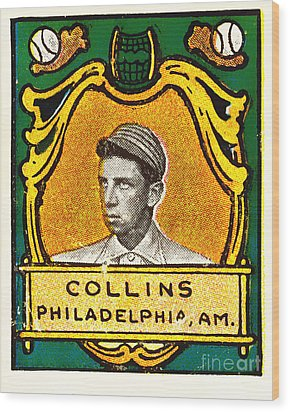 Eddie Collins Philadelphia Athletics Baseball Card 1025 Wood Print by Wingsdomain Art and Photography