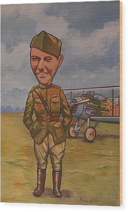 Wood Print featuring the painting Eddie Rickenbacker by Murray McLeod