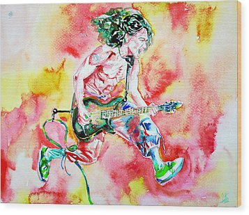 Eddie Van Halen Playing And Jumping Watercolor Portrait Wood Print by Fabrizio Cassetta