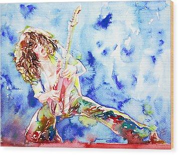 Eddie Van Halen Playing The Guitar.1 Watercolor Portrait Wood Print by Fabrizio Cassetta