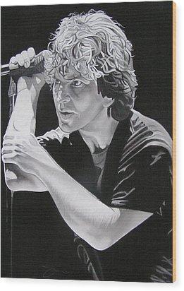 Eddie Vedder Black And White Wood Print by Joshua Morton
