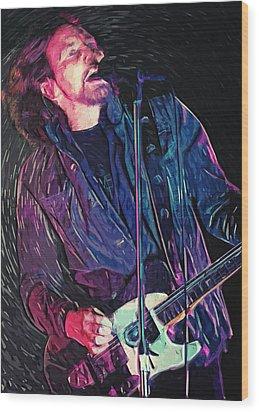 Eddie Vedder Wood Print by Taylan Apukovska
