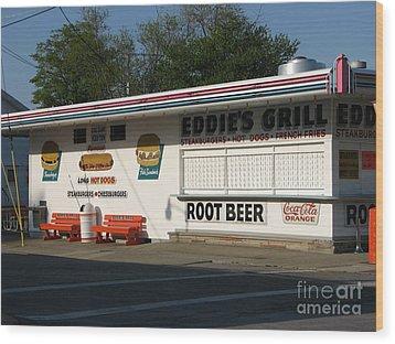 Eddie's Grill Wood Print by Michael Krek