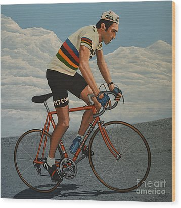 Eddy Merckx Wood Print by Paul Meijering