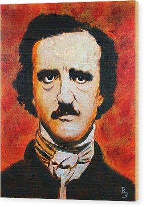 Wood Print featuring the painting Edgar Allan Poe by Bob Baker