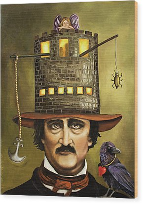 Edgar Allan Poe Wood Print by Leah Saulnier The Painting Maniac