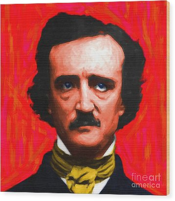 Edgar Allan Poe - Painterly - Square Wood Print by Wingsdomain Art and Photography