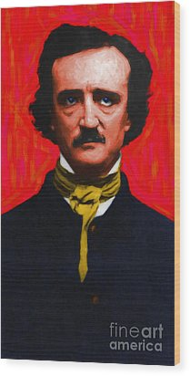 Edgar Allan Poe - Painterly Wood Print by Wingsdomain Art and Photography