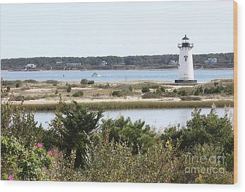 Edgartown Lighthouse With Wildflowers Wood Print by Carol Groenen