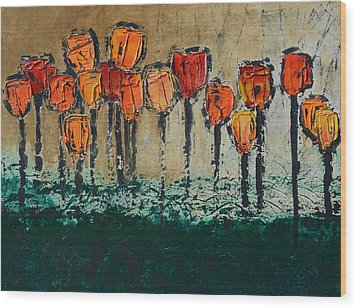 Wood Print featuring the painting Edgey Tulips by Linda Bailey