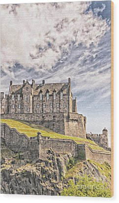Edinburgh Castle Painting Wood Print