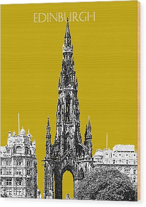Edinburgh Skyline Scott Monument - Gold Wood Print by DB Artist