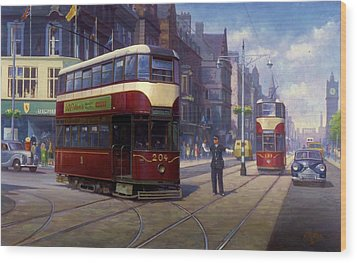 Edinburgh Tram 1953. Wood Print by Mike  Jeffries