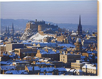 Wood Print featuring the photograph Edinburgh Castle Winter by Craig B
