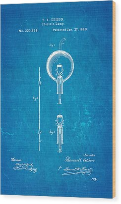 Edison Electric Lamp Patent Art 1880 Blueprint Wood Print by Ian Monk