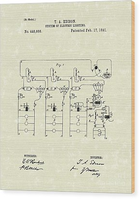 Edison Lighting System 1891 Patent Art Wood Print by Prior Art Design