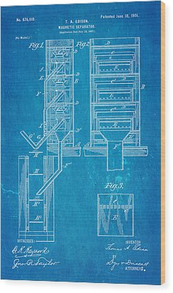 Edison Magnetic Separator Patent Art 1901 - Blueprint Wood Print by Ian Monk