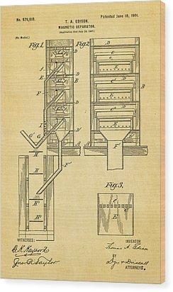 Edison Magnetic Separator Patent Art 1901 Wood Print by Ian Monk