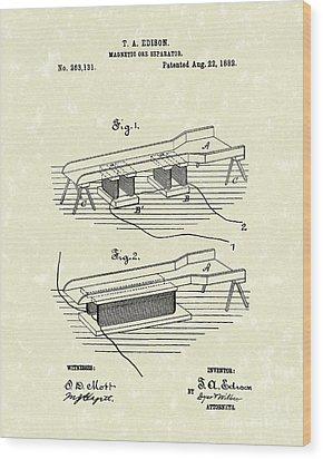 Edison Ore Separator 1882 Patent Art Wood Print by Prior Art Design