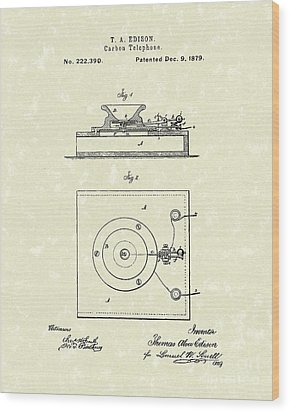 Edison Telephone 1879 Patent Art Wood Print by Prior Art Design