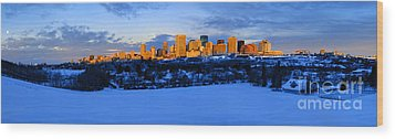 Edmonton Winter Skyline Panorama 1 Wood Print