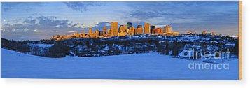 Edmonton Winter Skyline Panorama 1 Wood Print by Terry Elniski