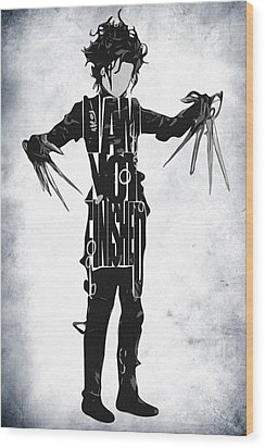 Edward Scissorhands - Johnny Depp Wood Print by Ayse Deniz