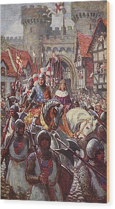 Edward V Rides Into London With Duke Wood Print by Charles John de Lacy