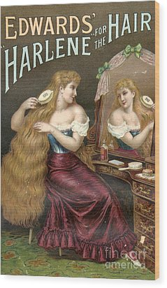 Edwards Harlene For Hair 1890s Uk Hair Wood Print by The Advertising Archives