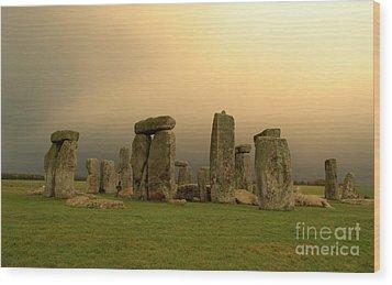 Eerie Stonehenge Wood Print by Deborah Smolinske