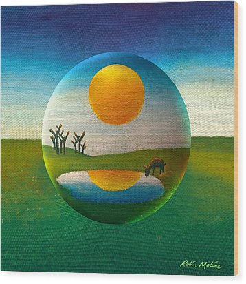 Wood Print featuring the painting Eeyorb  by Robin Moline