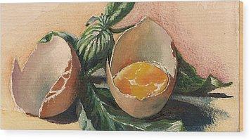 Egg And Basil Wood Print by Alessandra Andrisani
