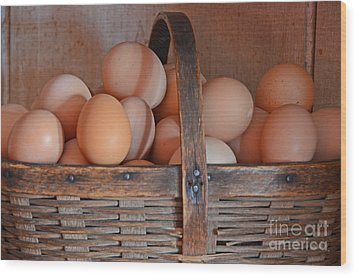 Egg Basket Wood Print by Mary Carol Story