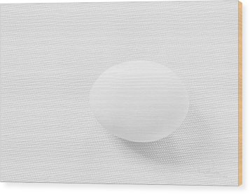 Wood Print featuring the photograph Egg On White Tablecloth by Ludwig Keck