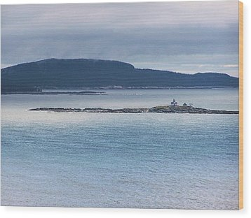 Egg Rock Light Wood Print by Gene Cyr
