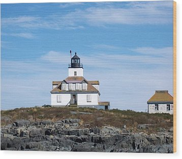 Egg Rock Lighthouse Wood Print by Catherine Gagne