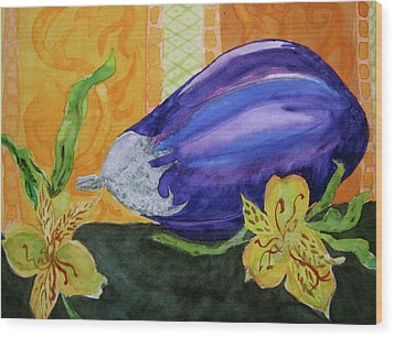 Wood Print featuring the painting Eggplant And Alstroemeria by Beverley Harper Tinsley