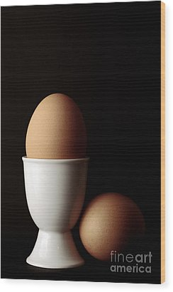 Eggs In Egg Cup Wood Print