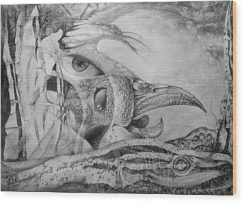 Ego-bird-fish Nesting Ground Wood Print by Otto Rapp